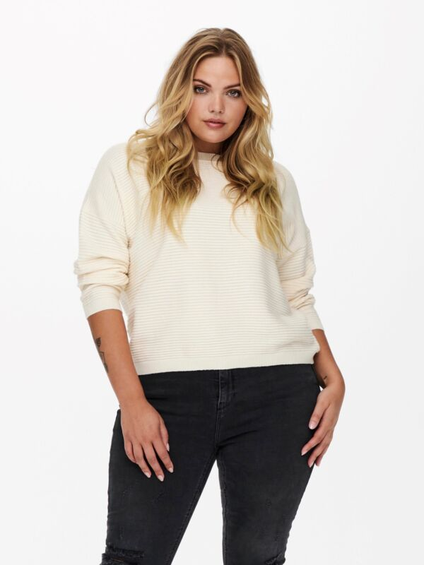 Only Carmakoma pullover, plussize sort, offwhite, grå